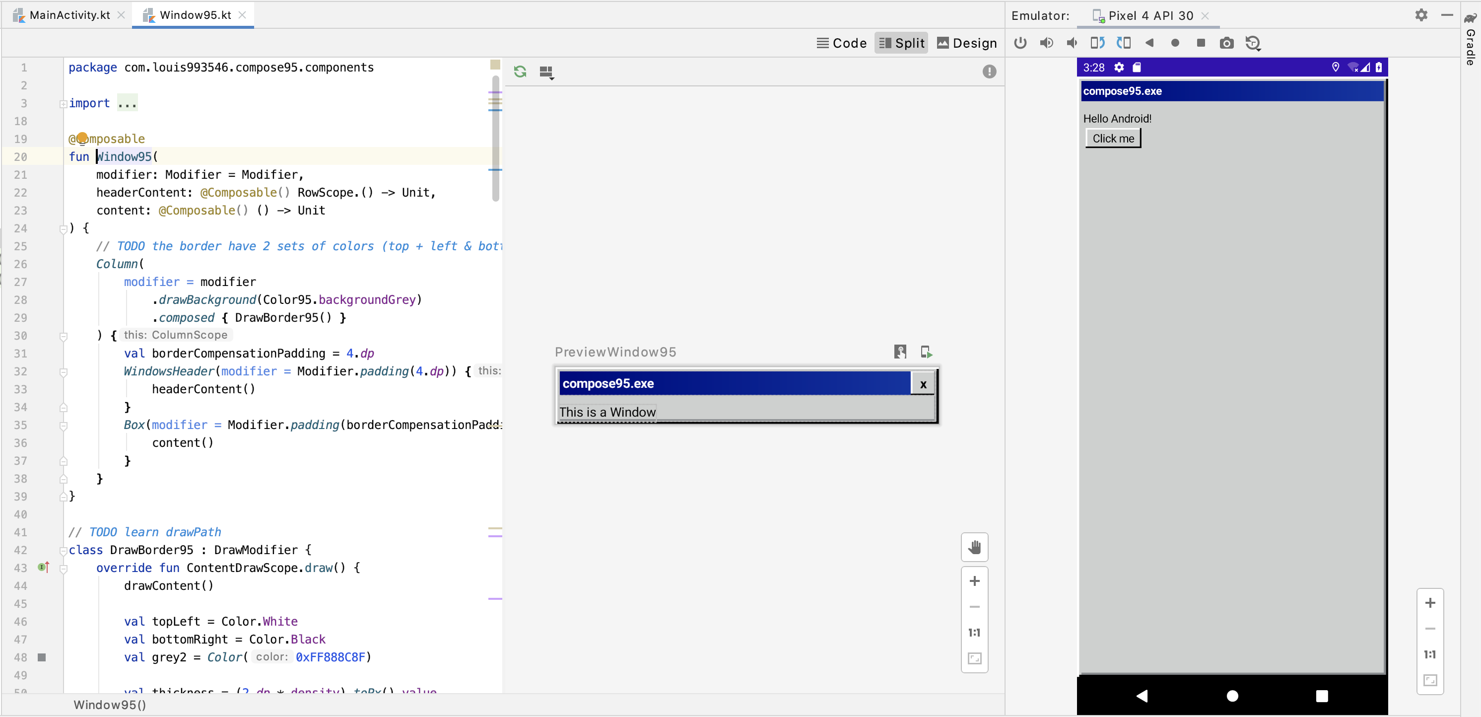 Screenshot of Android Studio, which has code of Window95, Preview of Window95, and an emulator showing what it looks like