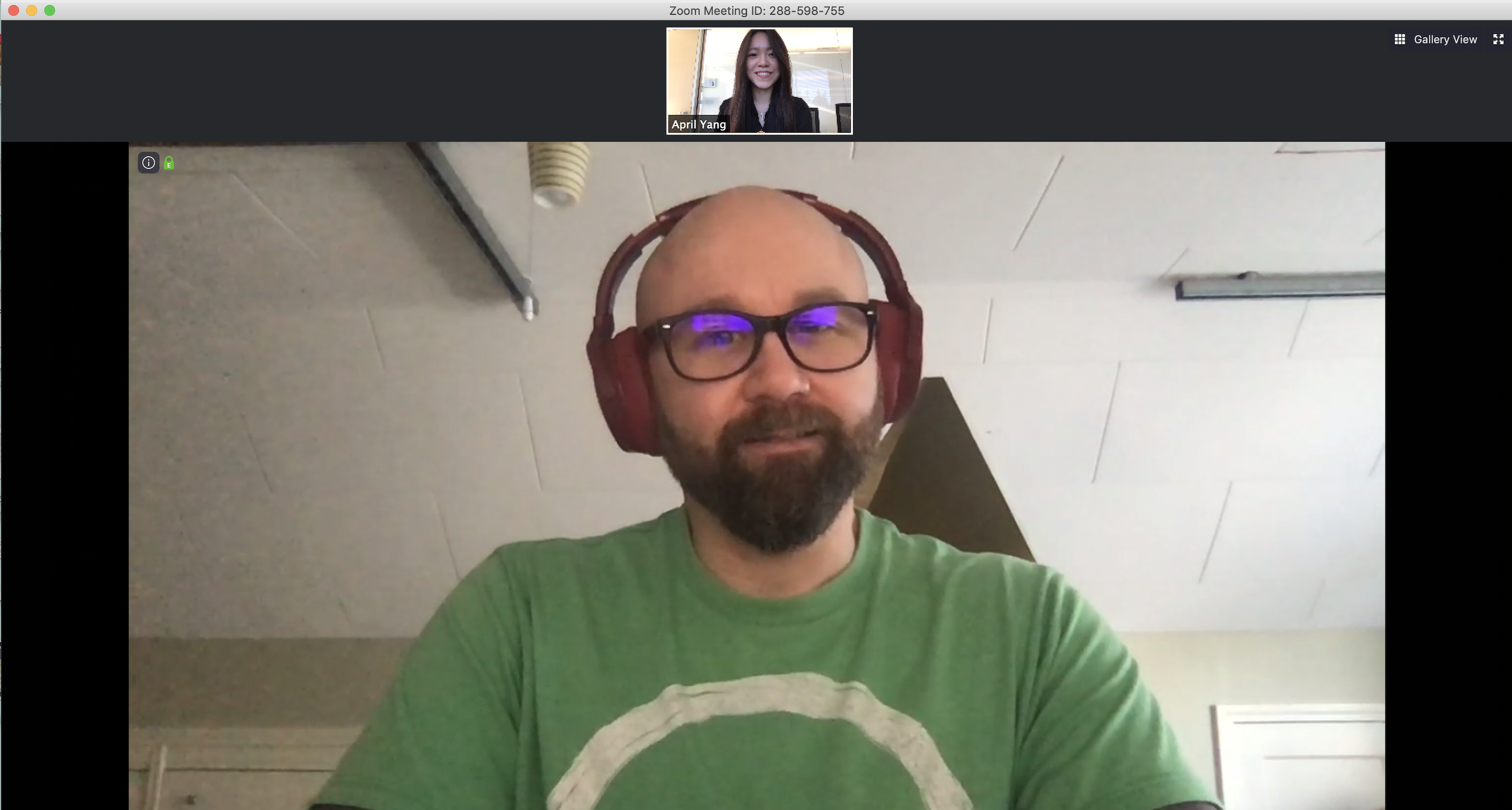 Picture of April on a video chat with another designer for the portfolio review interview