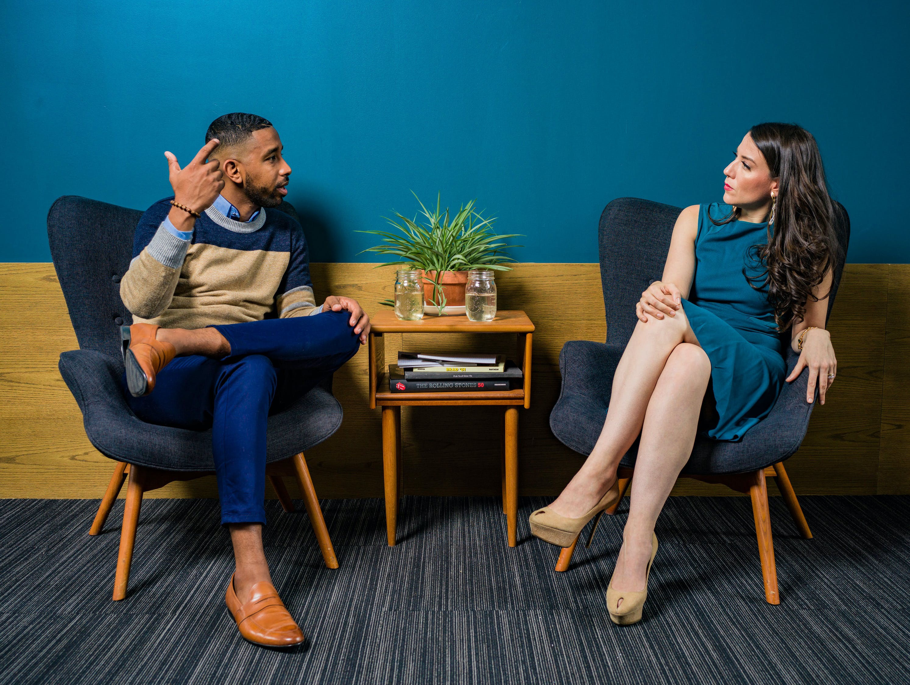 Two people having a meeting