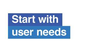 """A sign saying: """"Start with user needs"""""""