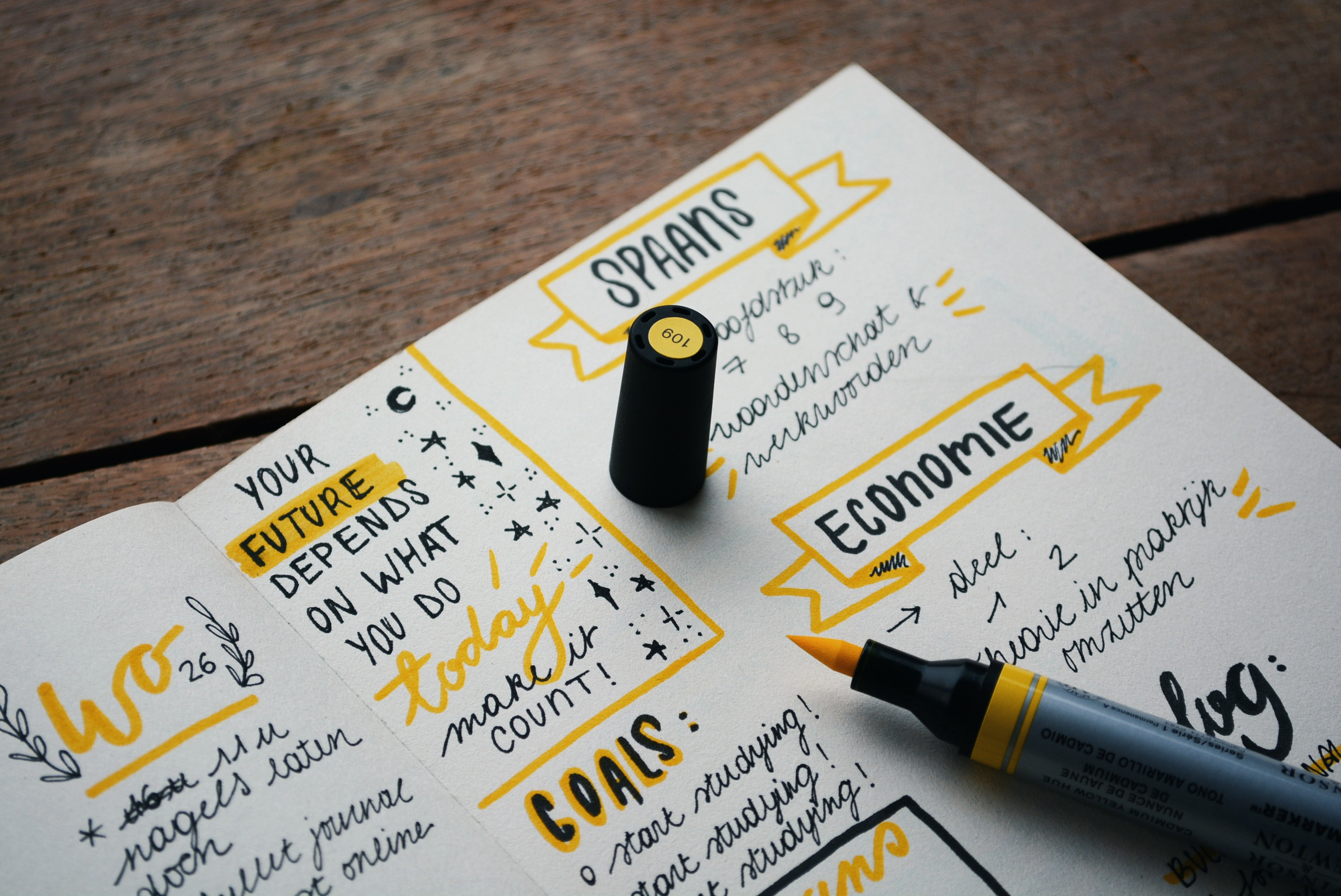notebook about goal setting and committment to blogging