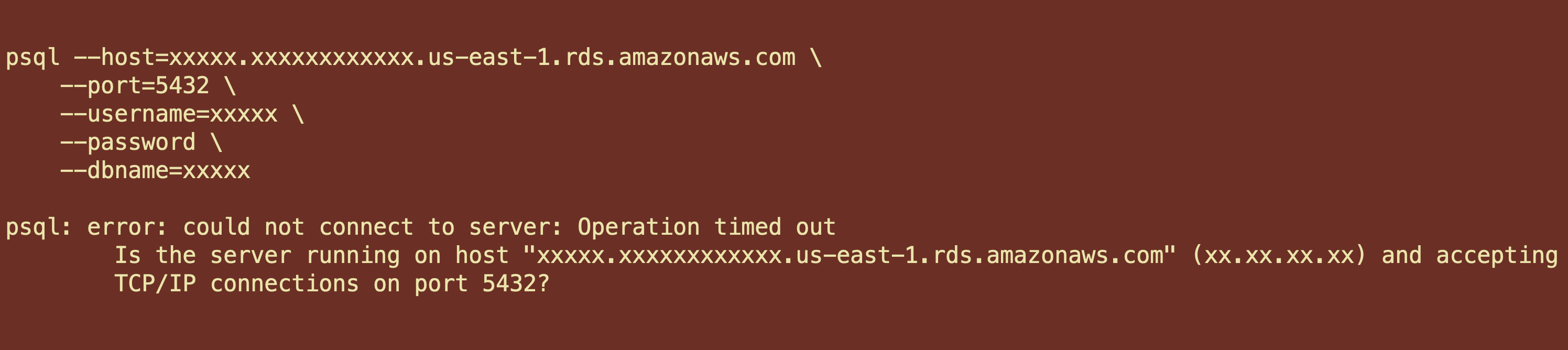 """Terminal psql TCP/IP connection attempt that failed with """"Operation timed out"""""""