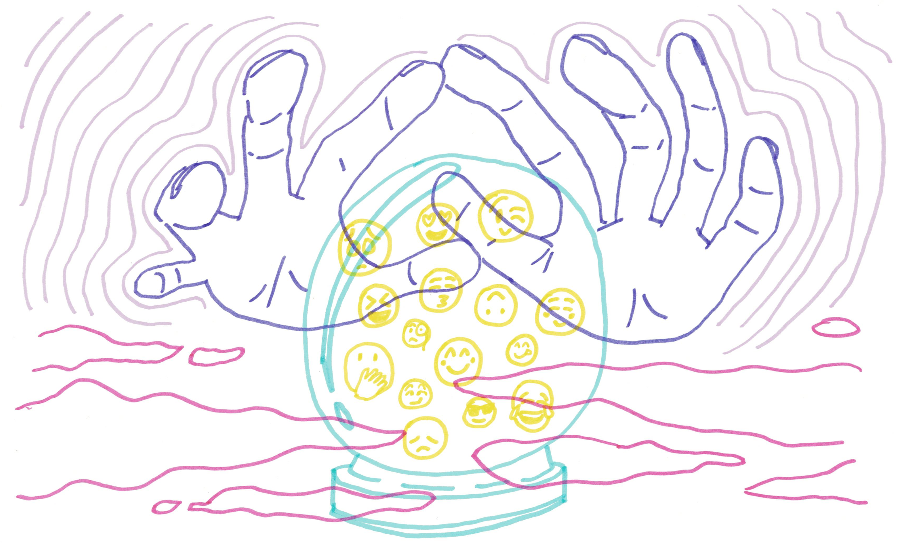 Illustration of two hands over a crystal ball with emoticons inside.