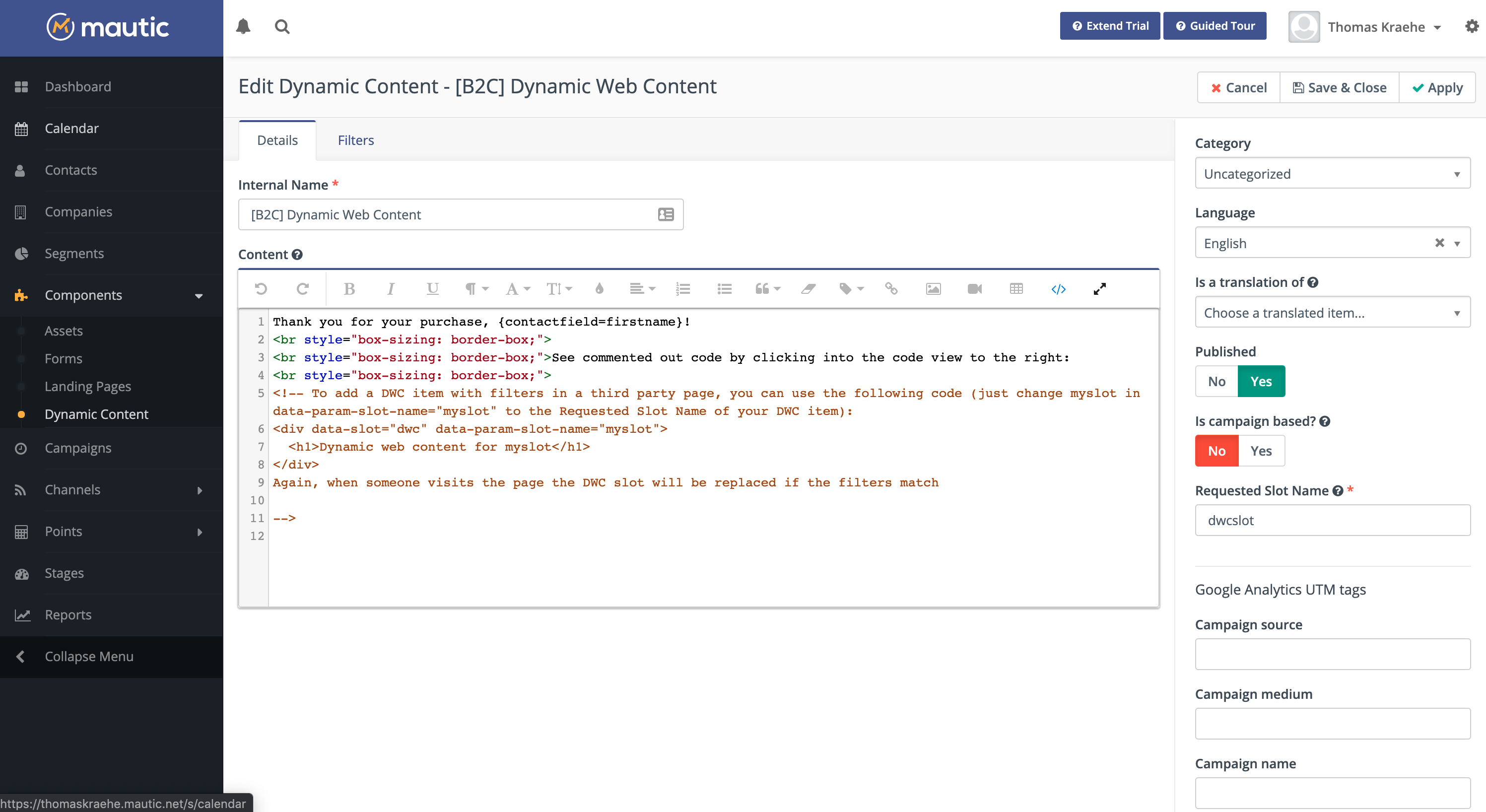 Dynamic Web Content in Mautic