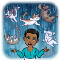 Angry person standing outside in the rain surrounded by happy cats and dogs falling from the sky