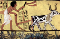 Ploughing with a yoke of horned cattle in Ancient Egypt. Painting from the burial chamber of Sennedjem, c. 1200 BC.