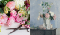 A photo of flowers, greenery, and scissors is next to a European painting of a bouquet of similar flowers.