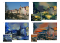 A photo of some houses is shown with three different painterly styles applied