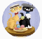 Circular illustration of two cats in with straw hats sharing a plate of multicolored macarons.