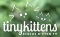 White logo on blurry green background. Text: TinyKittens Rescue Kitten TV + sketchy drawings of a cat head and a kitten head.