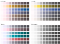 4 palettes with extreme color blind simulation