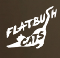 Logo: A white cat stretching its front legs out. Text: Flatbush Cats (the first S is created by the cat's tail).