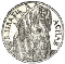 """Coin"" image, black and white, inscribed R(ex) Israel Achab"