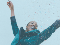 IMAGE SHOWS AN IMAGE OF A WOMAN WITH ARMS OUTSTRETCHED, GLEEFULLY BEING SHOWERED IN CONFETTI.