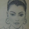 A charcoal drawing of Shireen Mitchell with double hoop earrings.