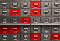 Card catalog system with red highlighted drawers