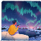 Illustration of a person making a voice recording while overlooking an aurora borealis of sound bites.