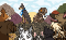 An illustration of a pack of dogs surrounding and growling at two dogs. One dog is a doberman wearing a collar with the Chewy logo, the other dog is a bulldog wearing a collar with the Amazon logo. The two dogs are sitting on top of a mountain of dog treats.