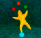 Abstract illustration of person balancing on ball and juggling at the same time.