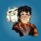Cartoon Harry Potter with his owl Hedwig