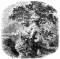 """The Druid Grove dtd 1845; """"A bearded and robed man sits in the shade of a giant tree, probably an oak tree; in the background a group of three robed figures surrounds a smaller tree."""""""