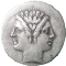 Ancient coin with two faces connected but looking in opposite directions, one backward (left), and the other forward (right).