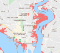 Map of Southampton with predicted sea level rise at 2050