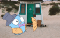 Gopher (Golang) at a beach house with a umbrella and raincoat