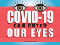 """""""Covid-19 can enter our eyes"""" text superimposed over red face mask with brown eyes peering over the top."""