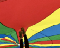 Colourful parachute, red, yellow, blue and green with 2 feet pressed up in the air against it