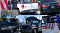 A collage of eight cars, trucks, and buses with obscured or missing license plates