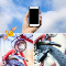 Generic cell phone held by female hand against blue sky with clouds compared to Close up picture of a bike dynamo