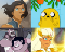 Collage of characters from different TV shows: Avatar Korra, Jake the Dog, Greg and Steven Universe, and Mara.