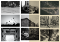 A tiled collage of 9 black and white images showing every-day life from different angles and perspectives.
