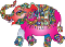 Multi-colored elephant adorned with floral feet and designs. Mostly pink body and orange hear, designed trunk.