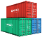 Stack of three shipping containers of different colors