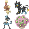 A photo of Buneary, Luxray, Lucario, and Spiritomb
