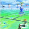 A screenshot of the Pokémon Go app, showing Pokéstops and gyms