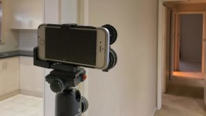 iPhone attached to a tripod