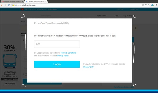 Secure 2-Step-Authentication Login on Paytm's Website
