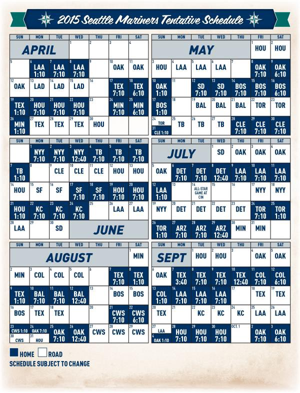 picture about Yankees Printable Schedule named Mariners and MLB Announce 2015 Agenda - In opposition to the Corner of