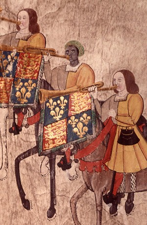 3 trumpeters on horseback. Their trumpets display Henry 8th's standard. The middle trumpeter is Black; the other 2 are white.