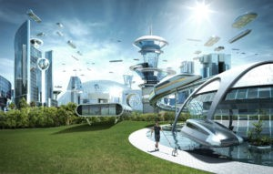 Concept vision of a technological utopian city