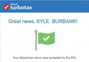 screenshot of TurboTax return acceptence by IRS