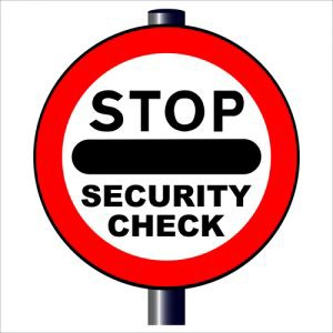 "A sign that says ""Stop: Security Check"" isolated over a white - Hannah Cohen"