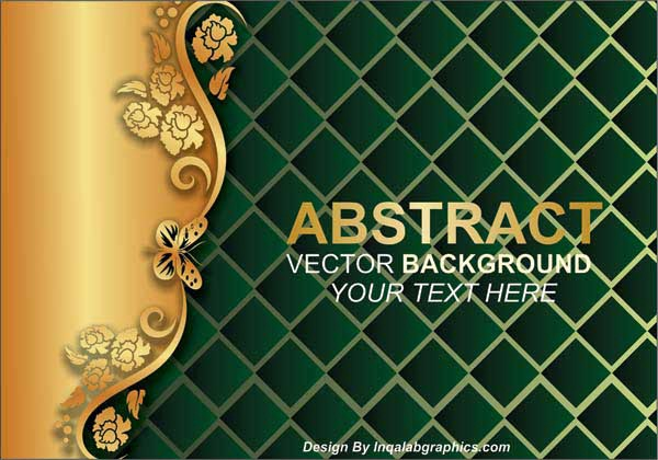 Gold And Green Floral Vector Background Free Abstract
