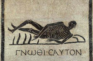 "A Roman 'memento mori' mosaic –used to remind people of the inevitability of death- from excavations in the convent of San Gregorio in Rome, ""Know thyself"" is written in Greek."