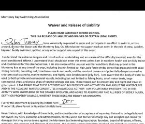 Excerpt of a safety waiver for the pier-to-pier swim from MBSA