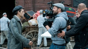 Director of Photography Matyas Erdely and Geza Rohrig, who plays Saul, on set.