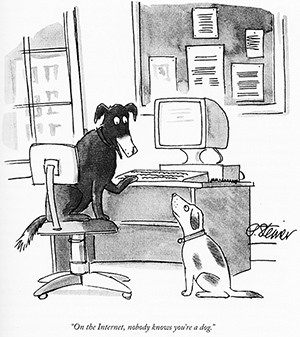 Peter Steiner's famous cartoon from the New Yorker where no one knows you are a dog on the internet